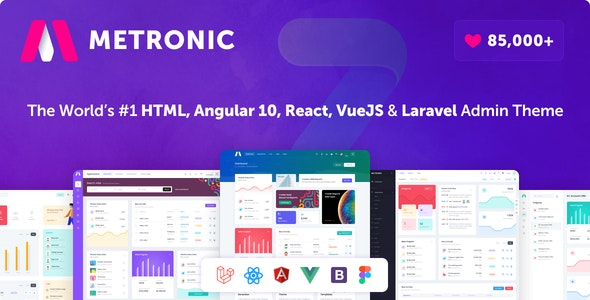 Metronic – Bootstrap 4 HTML, React, Angular 10, VueJS & Laravel 后台管理主题
