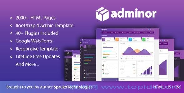 Adminor v1.0 – 整洁时尚响应式的Bootstrap4后台HTML5管理模板