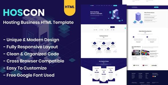 Hoscon – 主机托管业务 HTML 模板