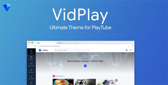 VidPlay v1.4 – PlayTube 第三方商业模板