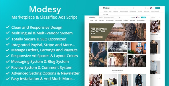 Modesy v1.7.1 – PHP在线商城和分类广告源码