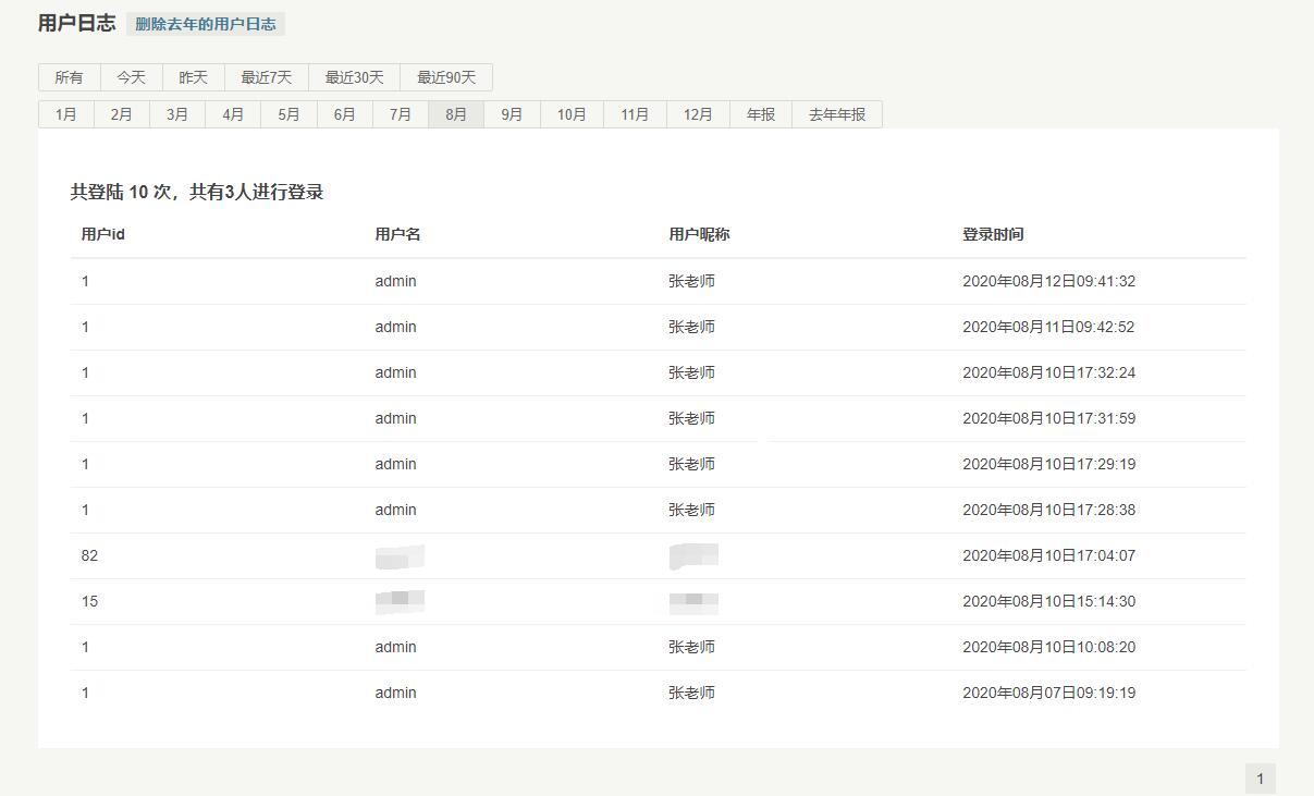userlog:用户登录日志插件